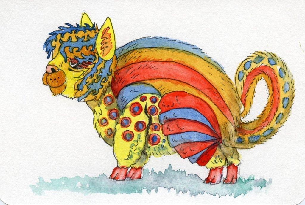 alebrijes acuarela watercolor alpaca Final Image - Doodlewash