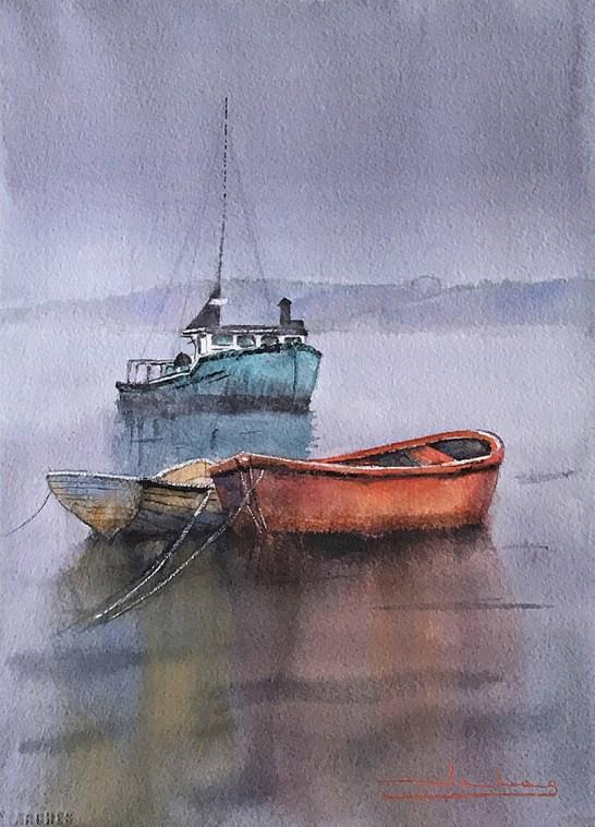 Barcos Boats Watercolor by Teresa Santos - Doodlewash