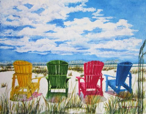 Beach Adirondack Chairs Watercolor by Barbara Rosenzweig - Doodlewash