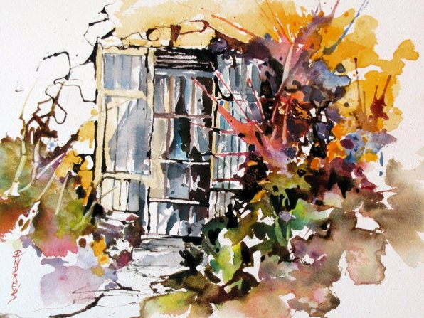 Watercolor by Rae Andrews - Brambles watercolor 12 x 9
