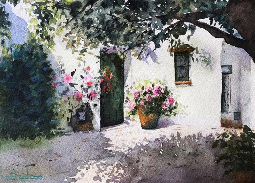 Castellar de la Frontera, Cádiz Watercolor by Teresa Santos - Doodlewash
