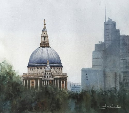 Catedral de S. Pablo en Londres St. Paul's Cathedral in London Watercolor by Teresa Santos - Doodlewash