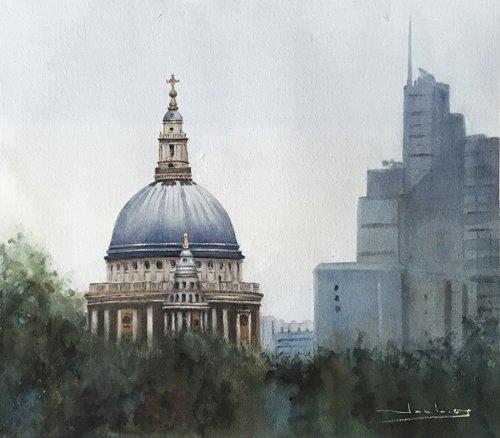 Catedral de S. Pablo en Londres St. Paul's Cathedral in London Watercolor by Teresa Santos - Doodlewash