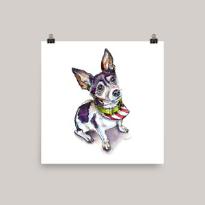 Christmas Dog Pet Portrait Watercolor Print - Example