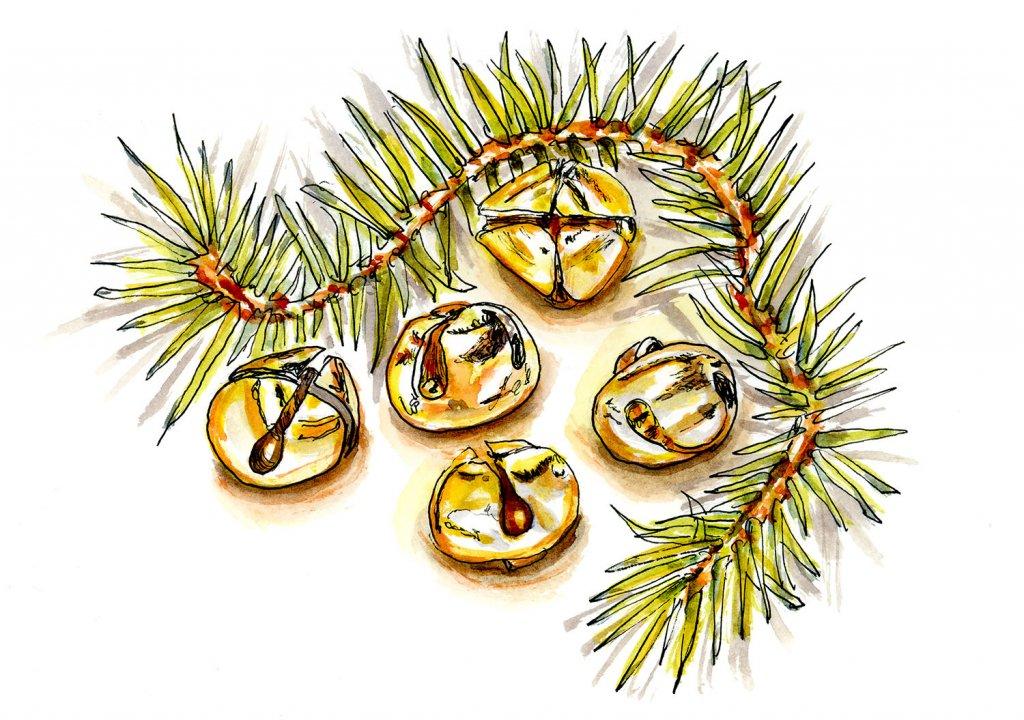 Day 11 - Jingle Bells Watercolor Garland - Doodlewash