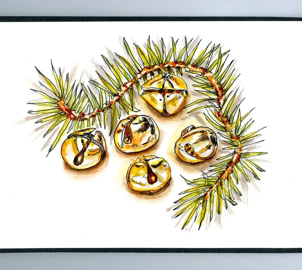 Day 11 - Jingle Bells Watercolor Garland Sketchbook Detail - Doodlewash