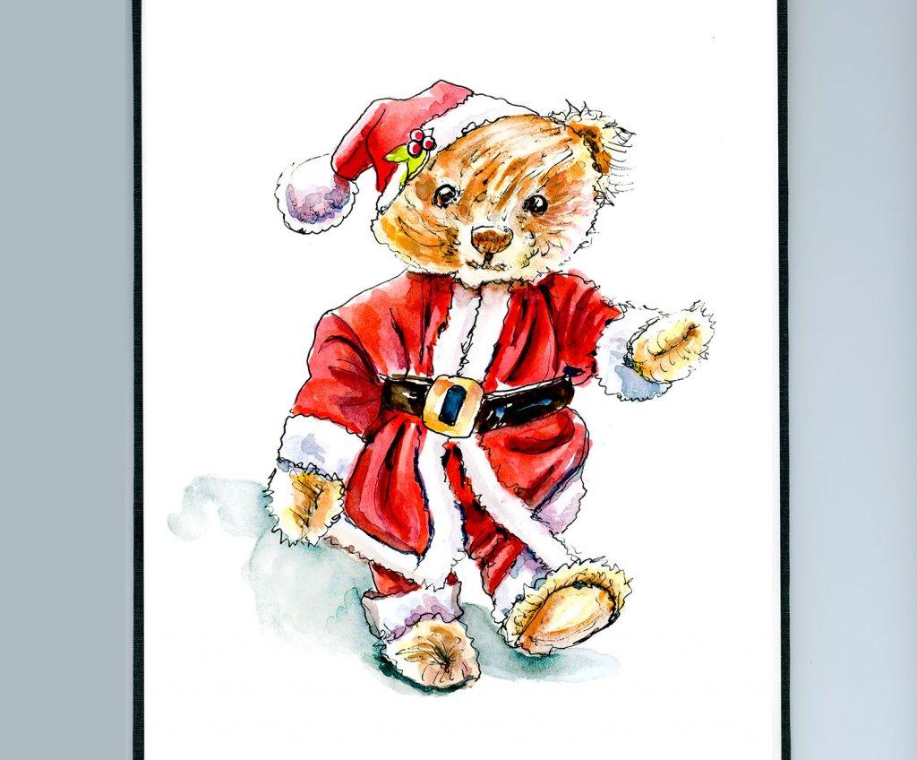 Day 13 - Christmas Teddy Bear Watercolor Sketchbook Detail - Doodlewash