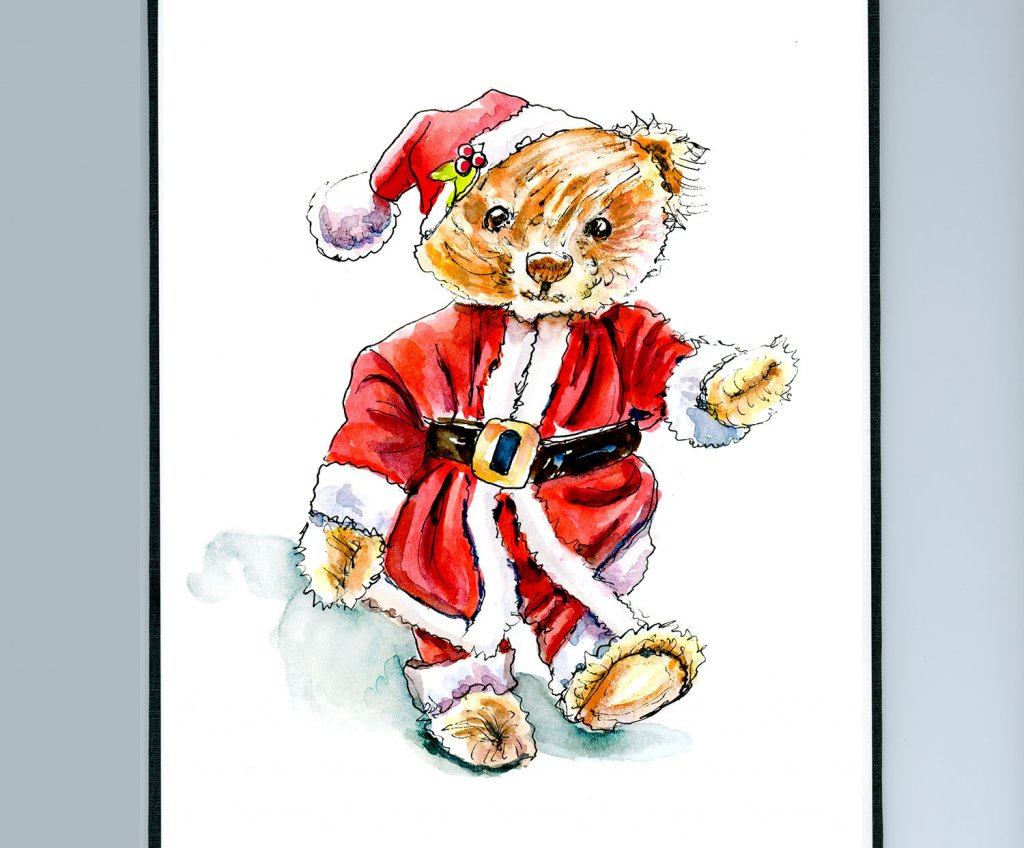 Day 13 - Christmas Teddy Bear Watercolor Sketchbook Detail - Doodlewash