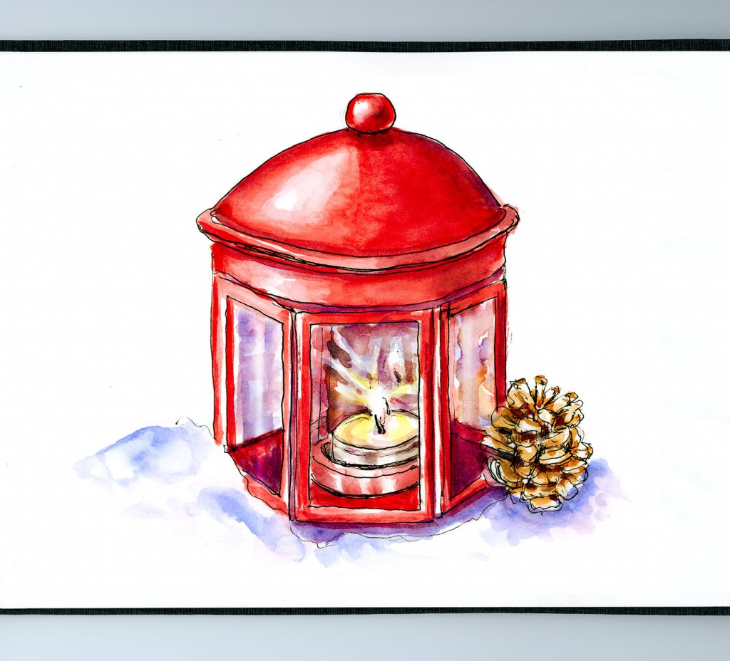 Day 15 - Christmas Lantern With Candle Watercolor Sketchbook Detail - Doodlewash