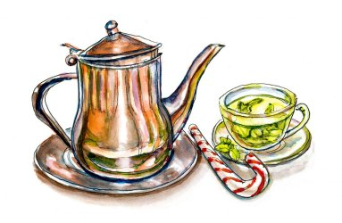 Day 2 - Peppermint Tea And Teapot Watercolor Detail - Doodlewash