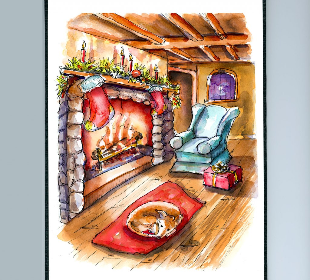 Day 21 - Watercolor Fireplace Christmas Cottage Scene - Sketchbook - Doodlewash
