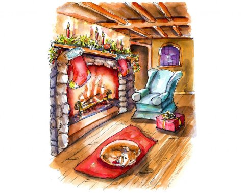 Day 21 - Watercolor Fireplace Christmas Cottage Scene - Doodlewash