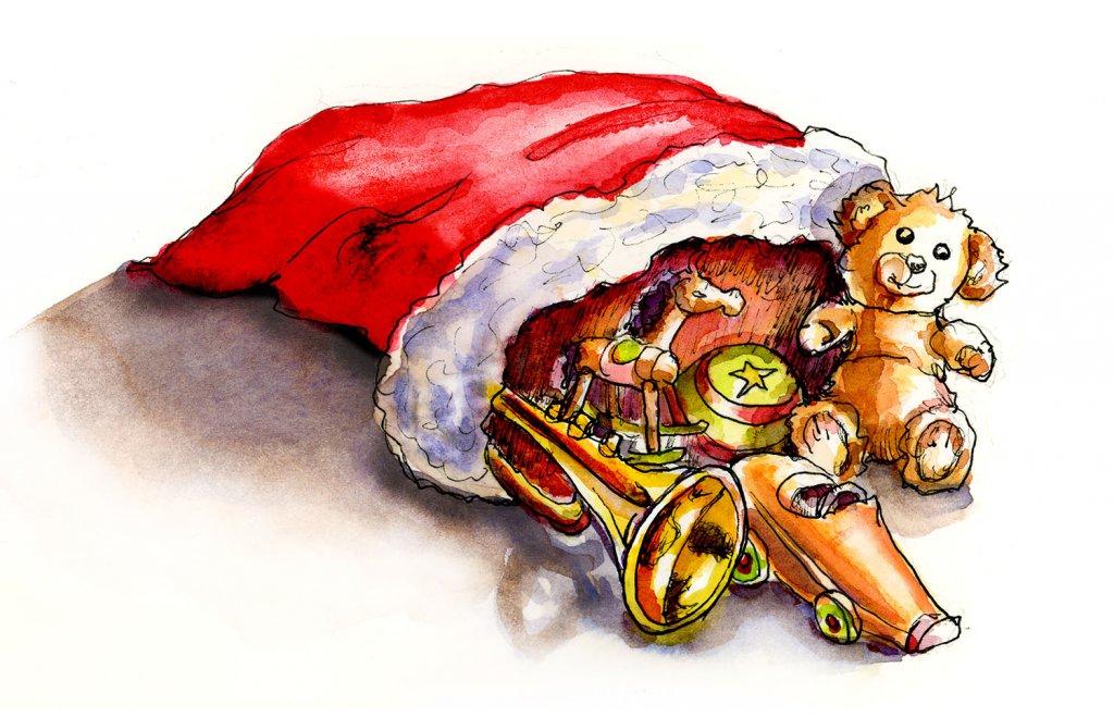 Day 25 - Santa Bag Toys Watercolor - Doodlewash