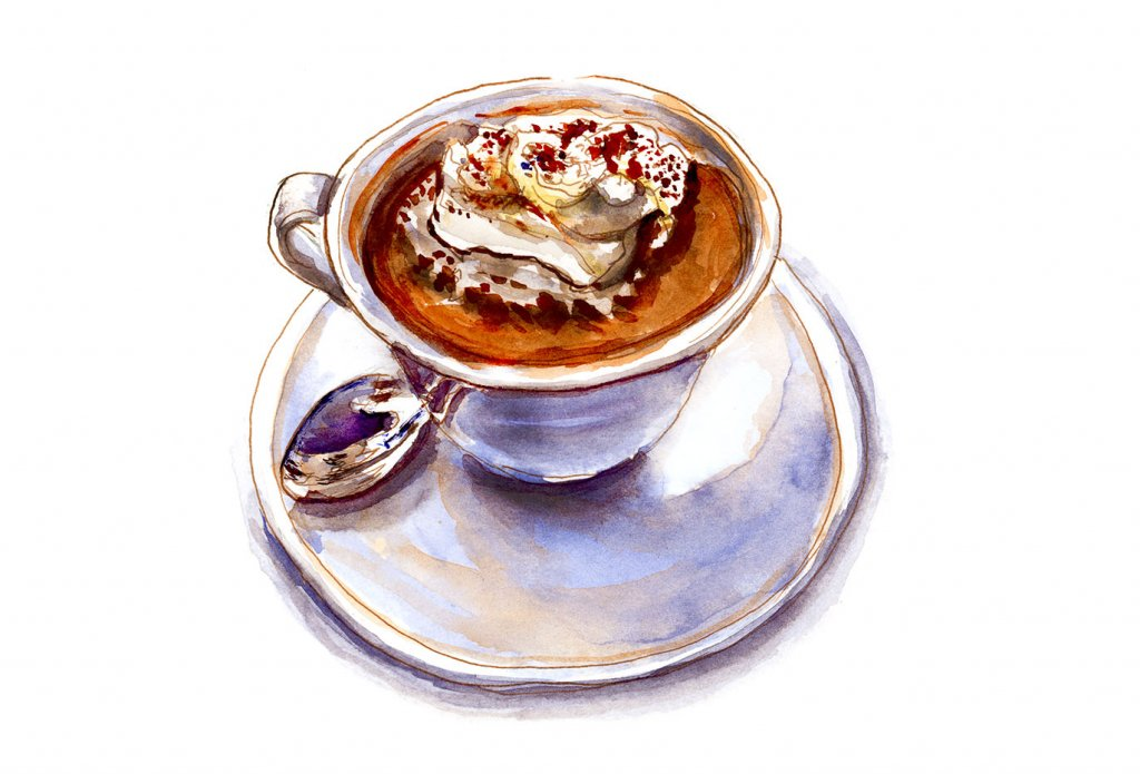 Day 27 - Hot Chocolate Cup And Spoon Watercolor - Doodlewash