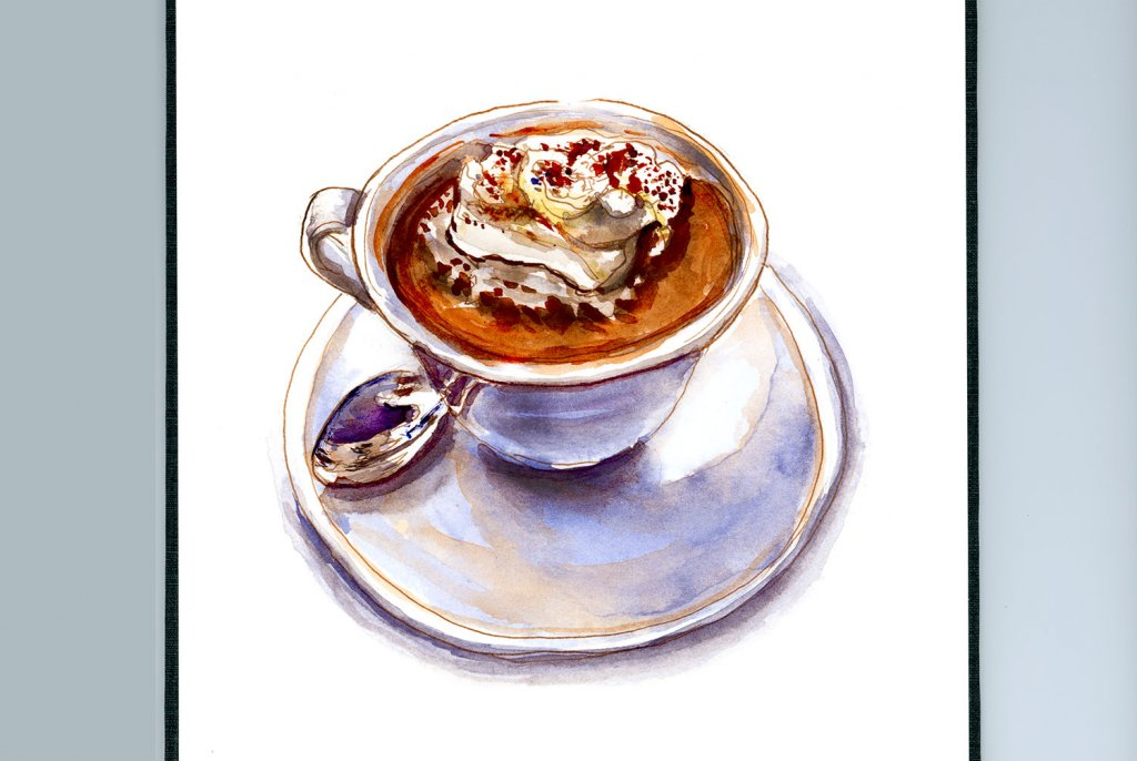Day 27 - Hot Chocolate Cup And Spoon Watercolor - Sketchbook Detail - Doodlewash