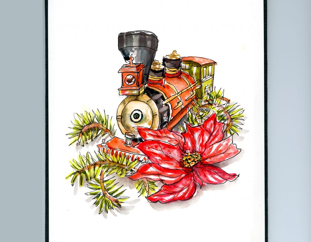 Day 3 - Toy Train And Poinsettia Christmas Watercolor Detail - Doodlewash