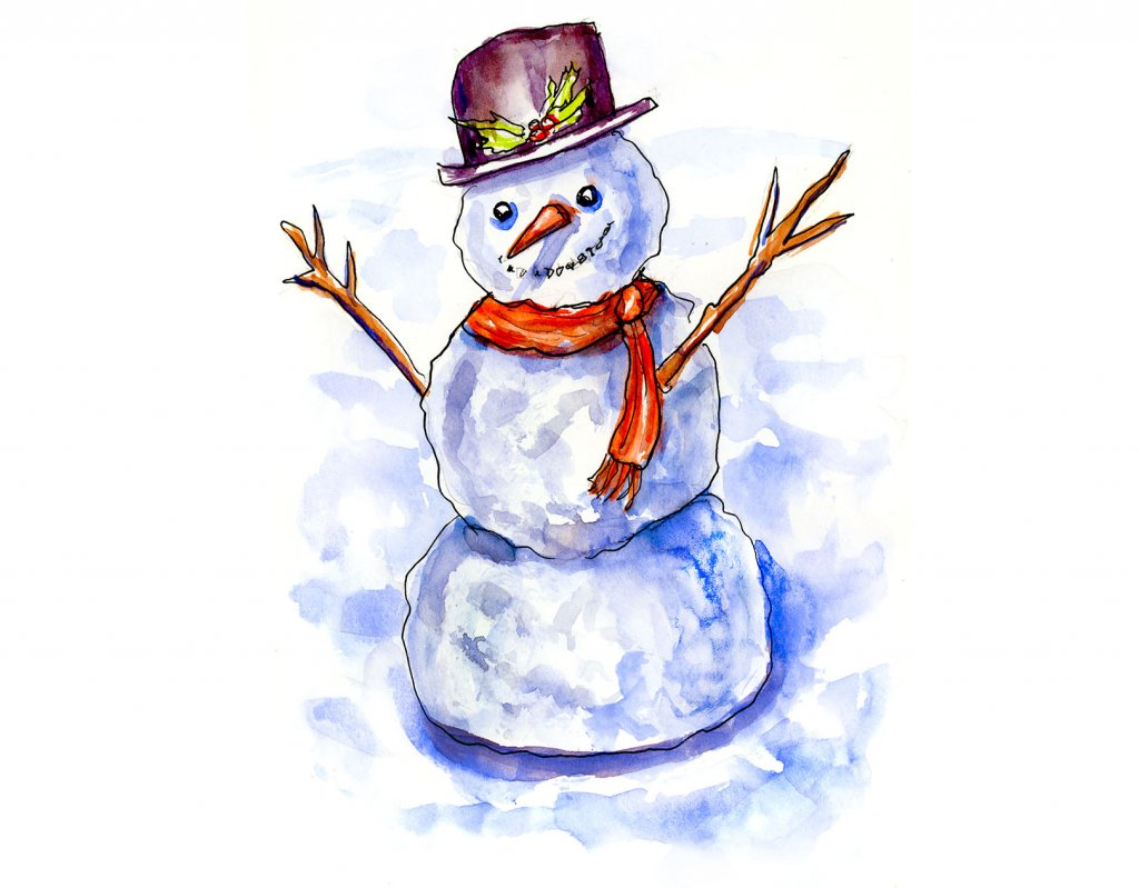 Day 4 - Snowman Watercolor Illustration - Doodlewash