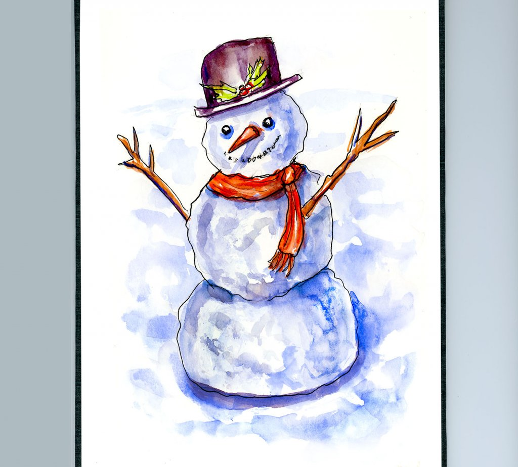 Day 4 - Snowman Watercolor Illustration Detail - Doodlewash