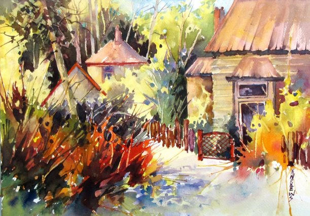 Watercolor by Rae Andrews - Dead End Respite Watercolor 14 x 10