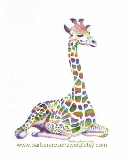 Giraffe Watercolor by Barbara Rosenzweig - Doodlewash