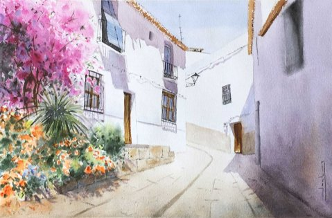 Granada, Salobrena Watercolor by Teresa Santos - Doodlewash