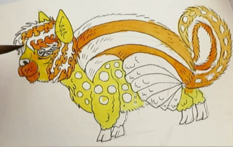 Painting Quinacridone Gold - alebrijes acuarela watercolor alpacamunk