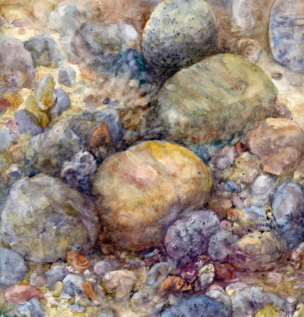 Rocks Watercolor Painting by Sandra Strait - Doodlewash