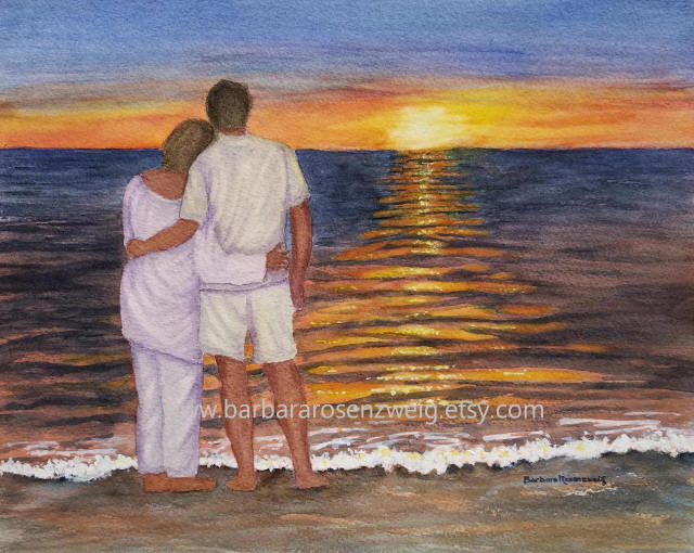 Sunset Beach Love Watercolor by Barbara Rosenzweig - Doodlewash
