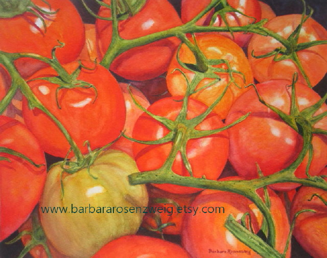 Tomatoes Watercolor by Barbara Rosenzweig - Doodlewash