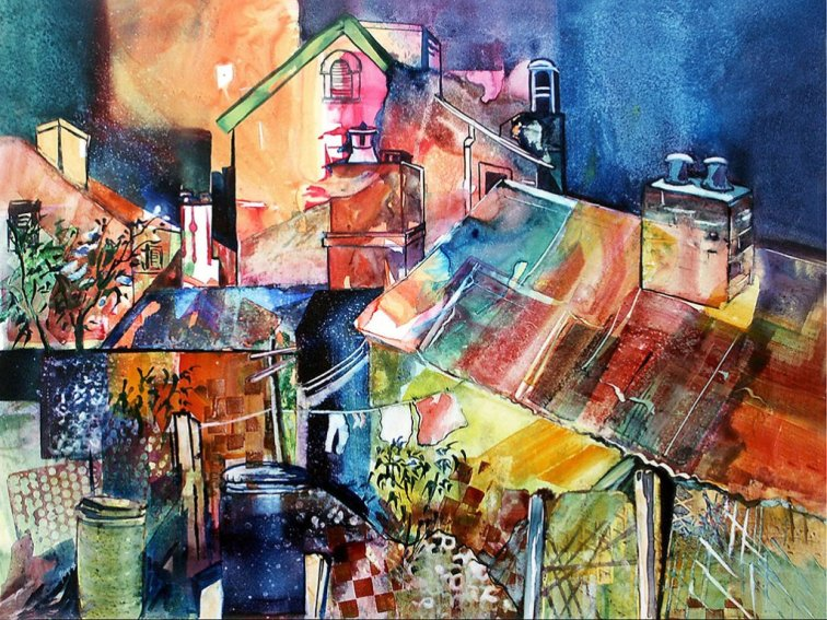 Watercolor by Rae Andrews - Urban Scene 2