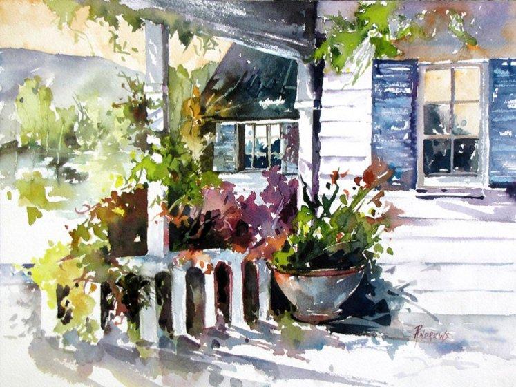 Watercolor by Rae Andrews - Veranda Shadows watercolor 10 x 14
