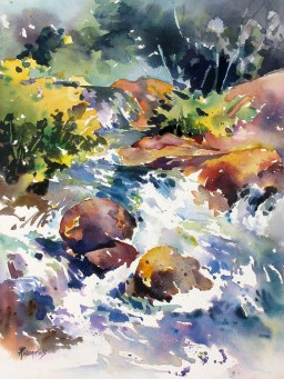 Watercolor by Rae Andrews - Watery Respite Watercolor 12 x 16
