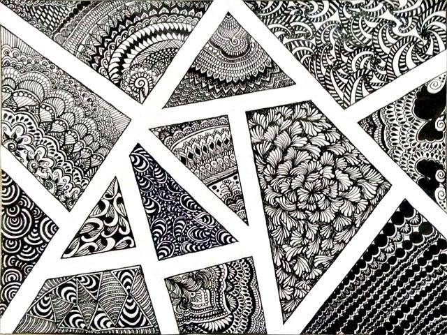 Abstract Zentangle: Zentangle love, black ball point pt5