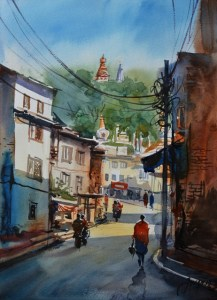 Alley to Swyambhunath Temple Watercolor on Canson 300gsm 28 x 38 cm 2018 Cityscape1_28x38cm_2018_2