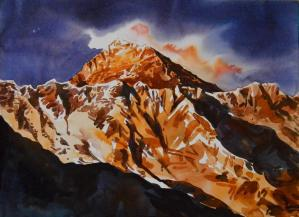 Mt. Everest Watercolor on paper 38×28 cm 2018 Mount Everest, known in Nepali as Sagarmatha (स