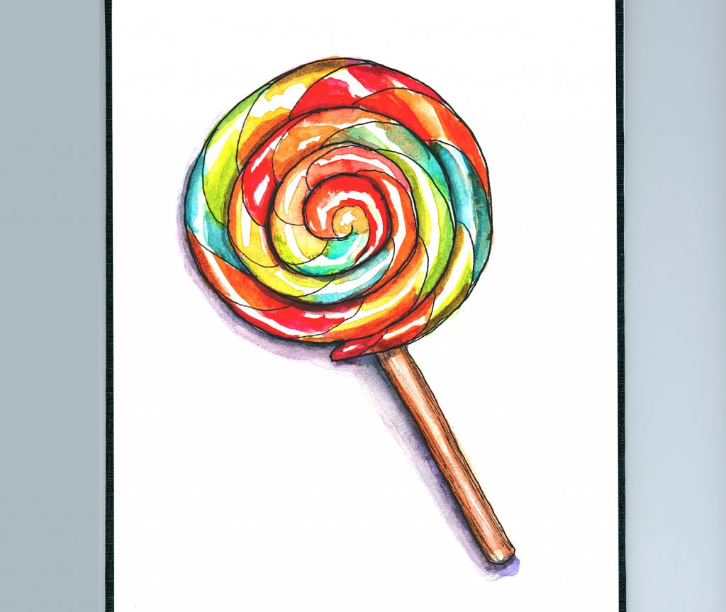 Day 13 - Lollipop Watercolor - Sketchbook Detail - Doodlewash