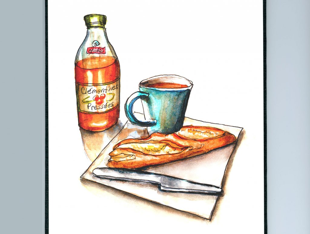 Day 14 - Breakfast In Paris Watercolor - Sketchbook Detail - Doodlewash