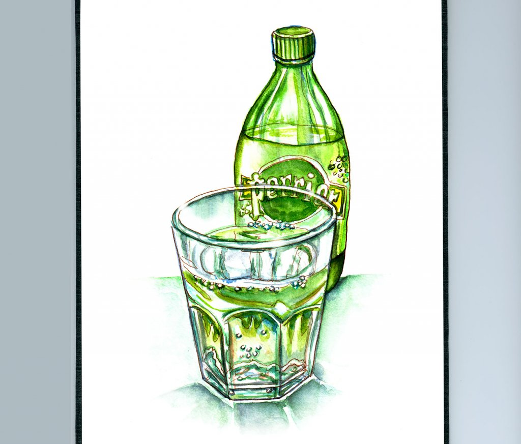 Day 17 - Perrier Bottle And Glass Watercolor - Sketchbook Detail - Doodlewash