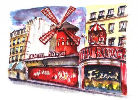 Day 18 - Moulin Rouge Watercolor Sketch - Doodlewash