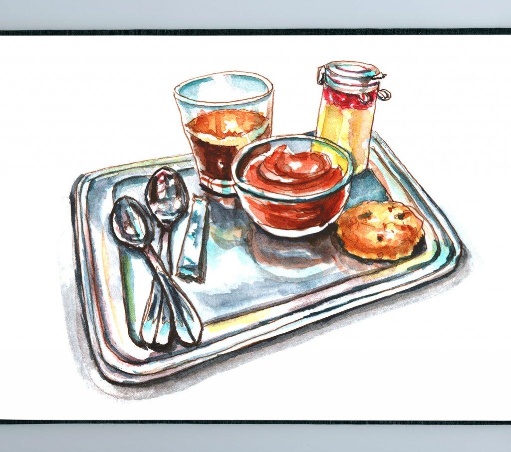Day 20 - Cafe Gourmand Paris Watercolor - Sketchbook Detail - Doodlewash