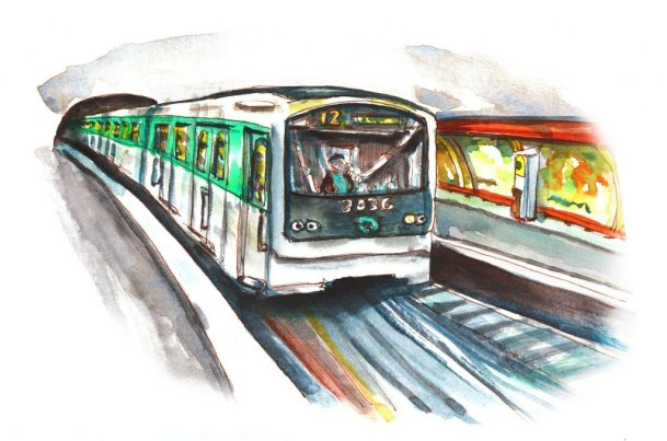 Day 21 - Paris Metro Train Watercolor - Doodlewash
