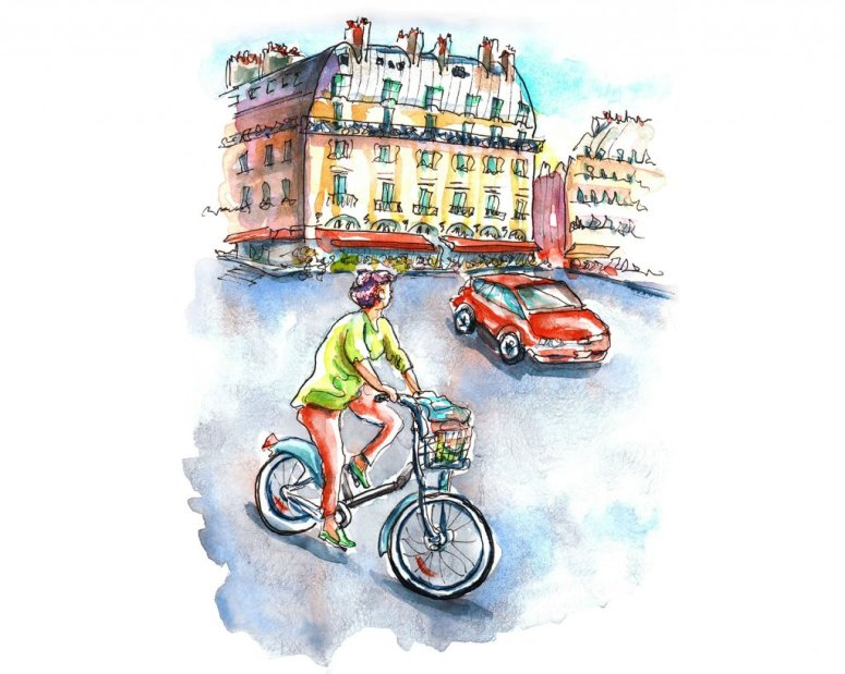 Day 23 - Bicycle In Paris Watercolor