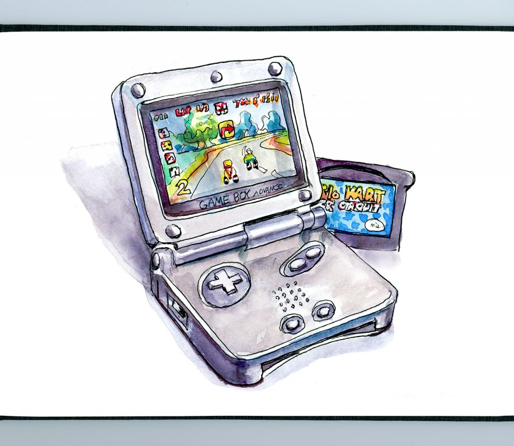 Game Boy Advance SP Watercolor Sketchbook - Day 31