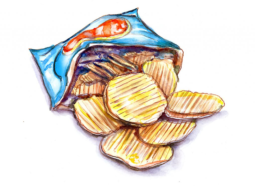 Day 7 - Potato Chips Crisps Snacks Illustration - Doodlewash