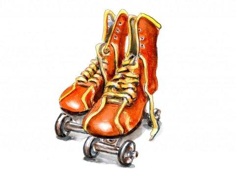 Day 9 - Vintage Roller Skates Watercolor - Doodlewash