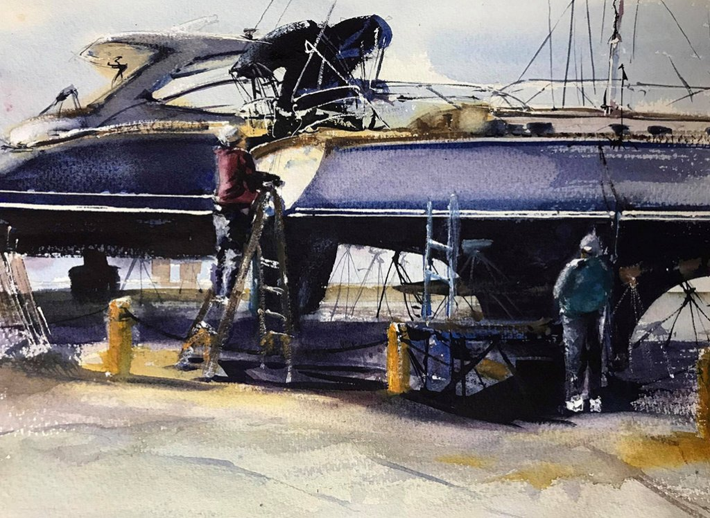 Dock Inspection Watercolor By Al Kline - Doodlewash