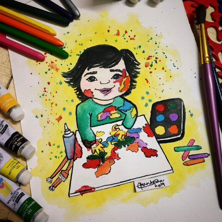 """Prompt 16 Day 16 Art supplies #doodlewashjanuary2019 """"When lil nonu's Creative mode is o"""