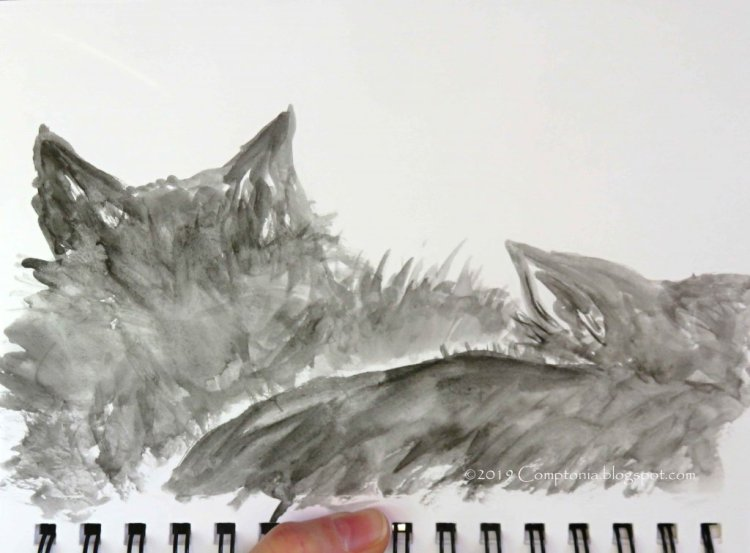 A very close-up watercolor of snug kitties 🙂 IMG_3230