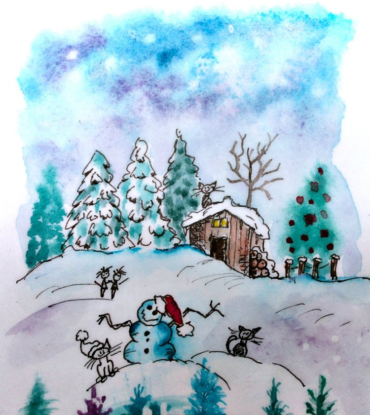 "Another sketch just for fun. ""Goodbye Christmas"" IMG_7968_01"