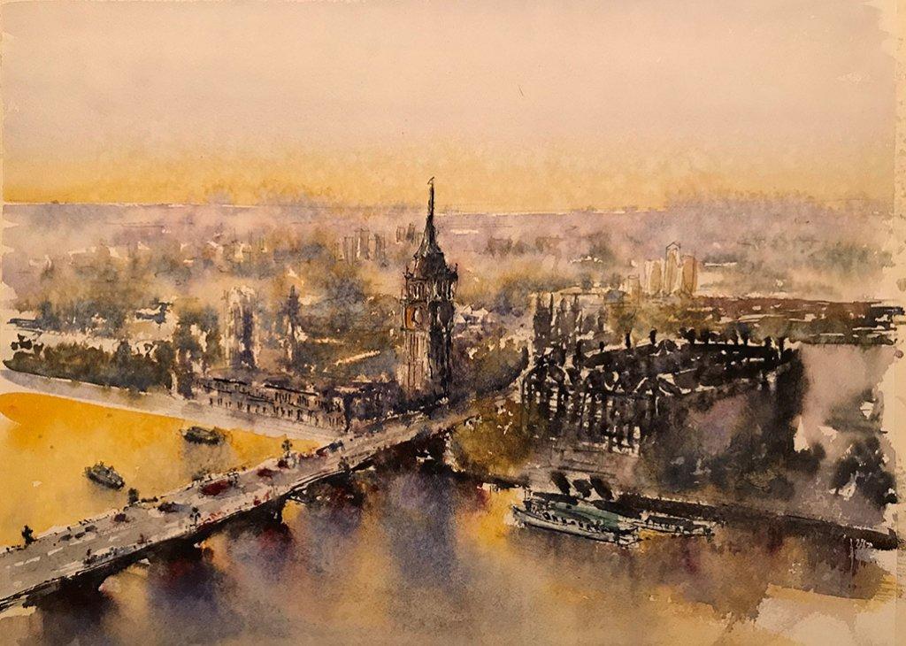 London Eye Watercolor By Al Kline - Doodlewash